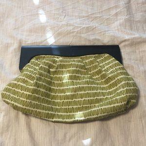 Green/wood handle clutch purse
